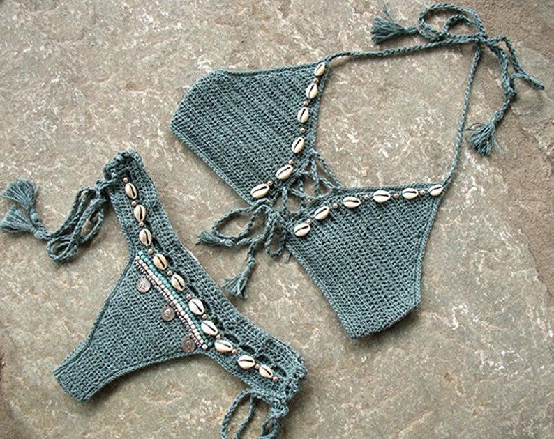 Crochet Bikini Set with shells and tassels - MarryG Swimwear