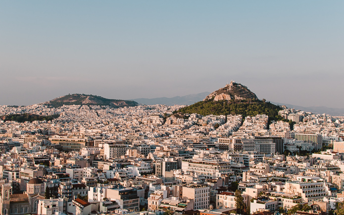 View on Mount Lycabettus from the Acropolis - Athens historical monuments