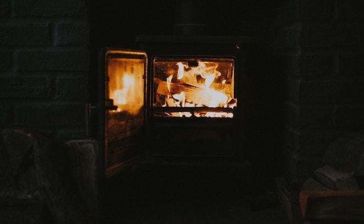 Fireplace enjoying winter
