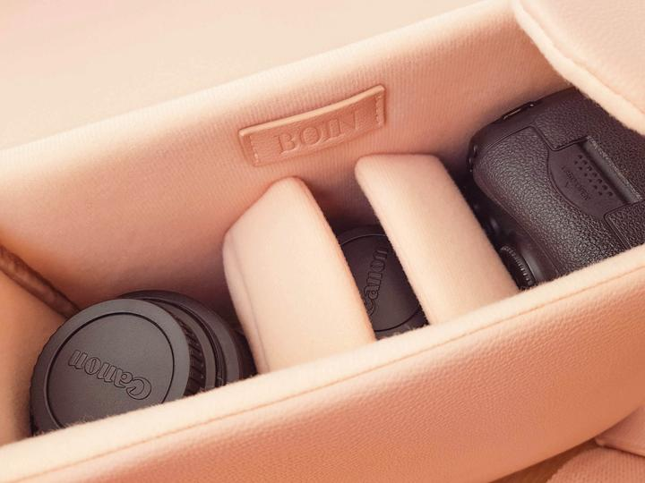 The Urban blush pink camera bag for women
