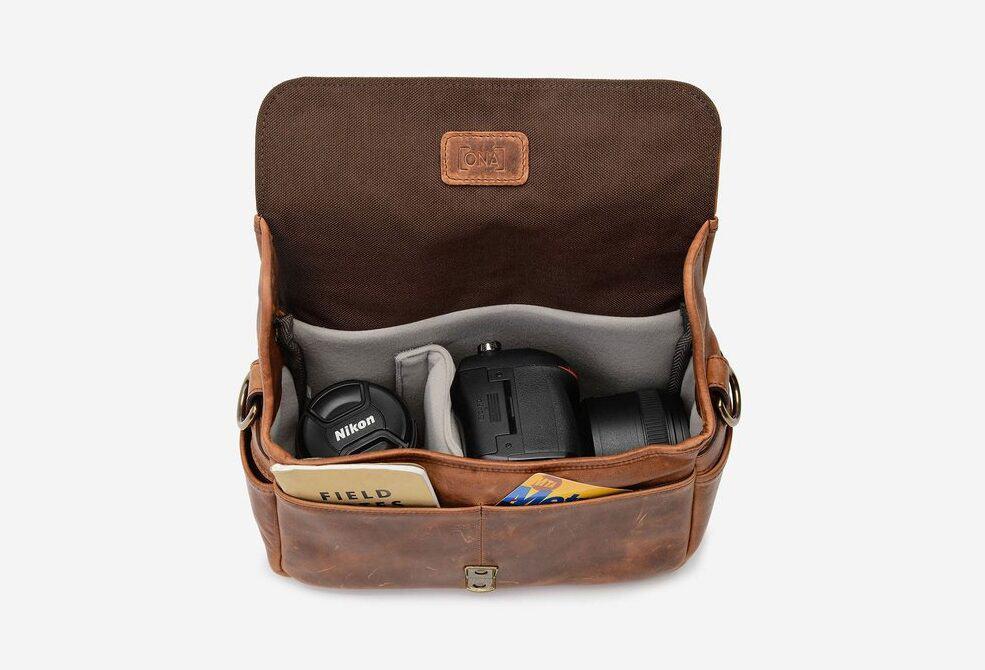 The Bowery camera bag inside