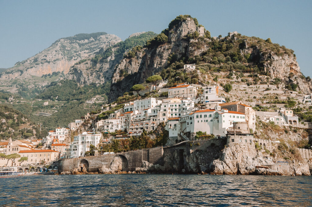 The village of Amalfi, seen from the boat on our way to Positano!
