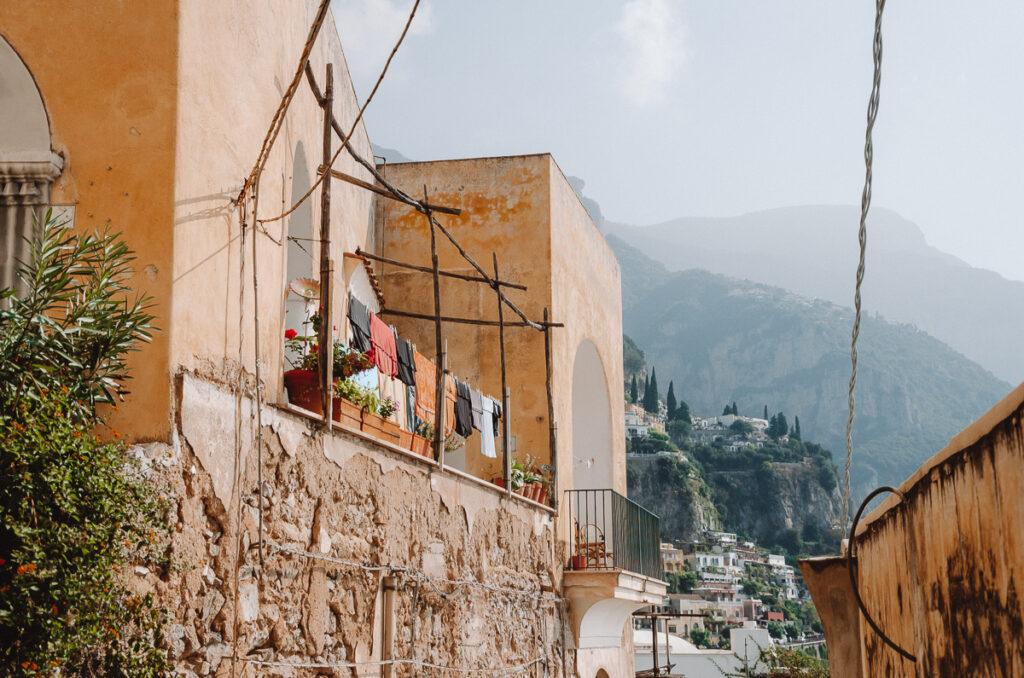 Laundry hanging in Positano