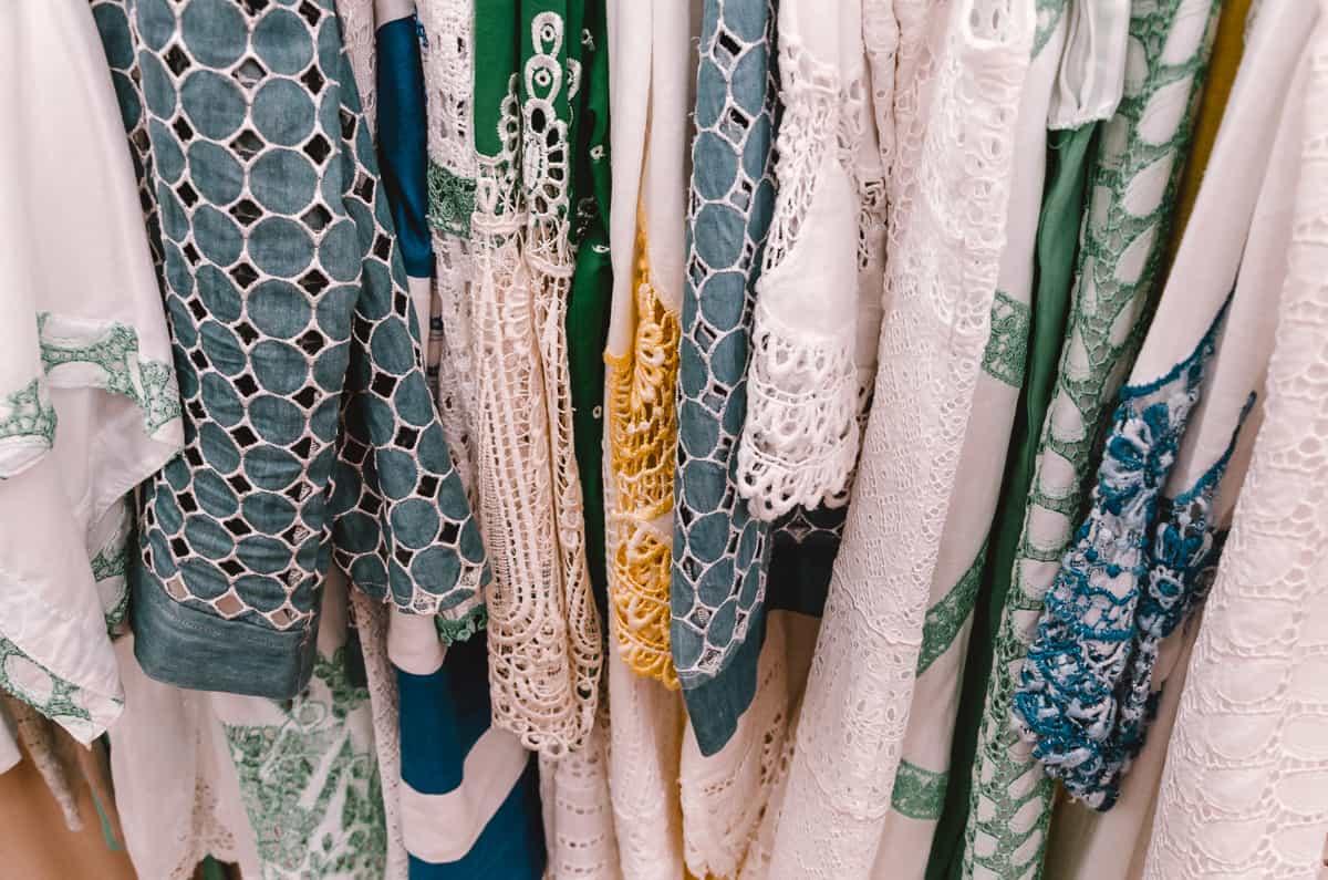 Pretty fabrics in the shop Theodora