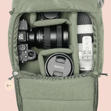 Camera backpack organisation