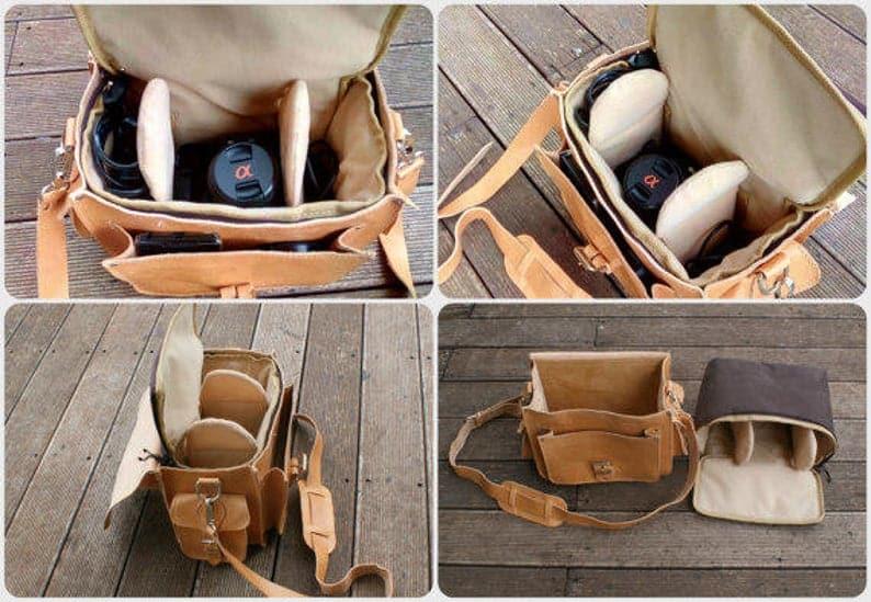 Leather camera bag women inside