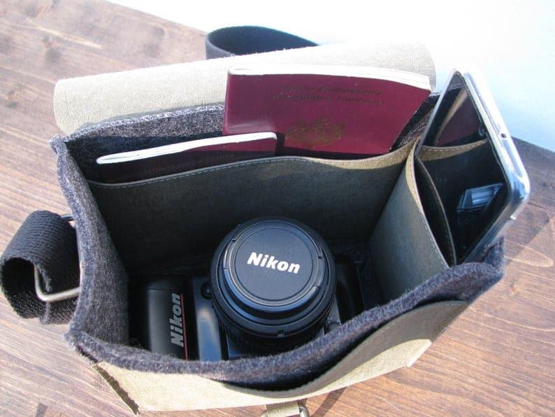 Vegan camera bag for women inside