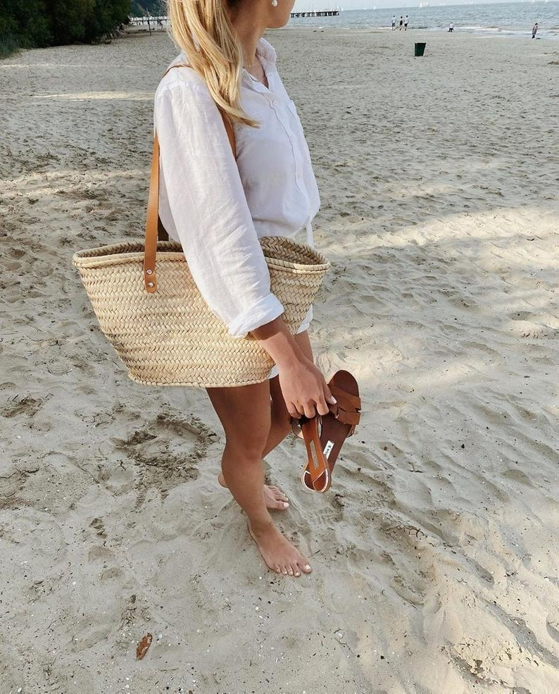 French basket beach bag