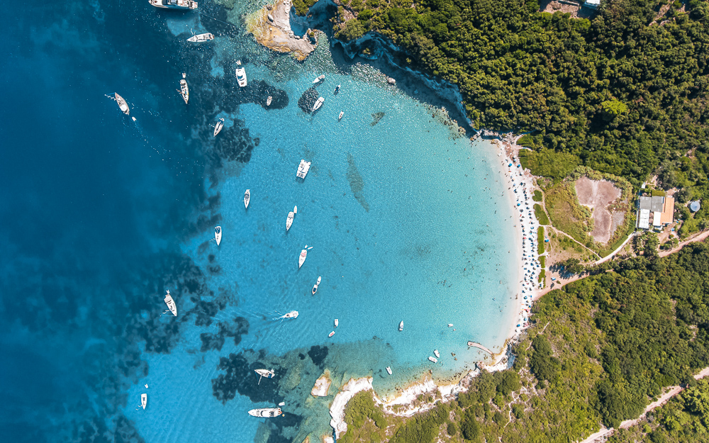 Paxos island from above