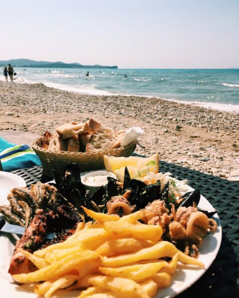 Delicious seafood in Corfu