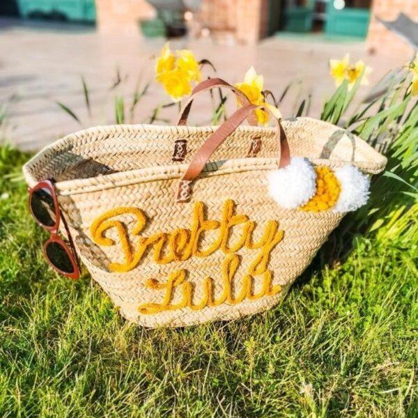Custimizable straw beach basket gift