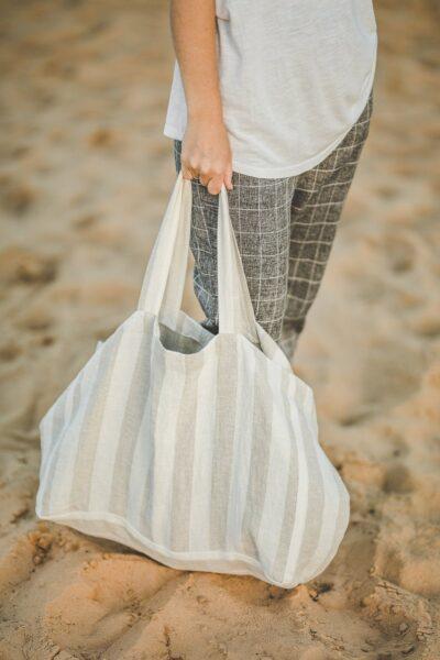 Linen beach bag - beach bag gift ideas